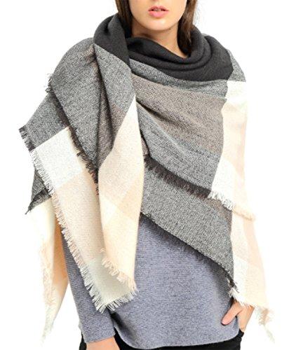 VLUNT Damen Winter klassische Schal lange weich Wraps grosse Schal Deckenschal Herbstschal Winterschal (grau-rosa)