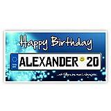 Herz & Heim® Geburtstagsbanner 0,80x1,60m mit Namen u. Alter im blauen Kennzeichen, PVC