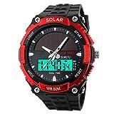 Männer Mode Solar Uhr Wasserdicht Doppelmaschine Elektronisch Trend Outdoor Sport Student Uhr,Red