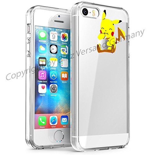 Blitz® DISNEY Schutz Hülle Transparent TPU Cartoon Comic Case iPhone 6 6s Arielle, die Meerjungfrau Pikachu isst Apfel