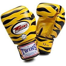 Twins Special Fancy Guantes de boxeo amarillo Tiger de Tailandia 10oz.