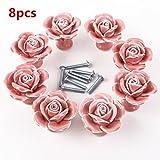 Lot de 8boutons de fleurs vintage Rose Fleur en céramique Tirette de poignée de porte pour armoire tiroir Porte Placard Armoire Casier Armoire rose