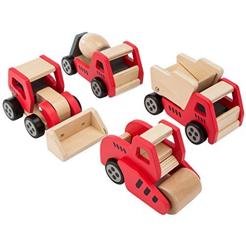 Ultrakidz Baustellenfahrzeuge aus Holz, im 4er-Set