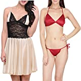 Klamotten Satin Women Sexy Nightwear and Bikini Set Combo 11M-06 Image