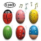 Tougo Shaker per Uova in Legno , Uovo Musicale a percussione in Legno, Shaker per Uova di Maracas, Giocattoli per l'apprendimento precoce per Bambini, 6 Pezzi