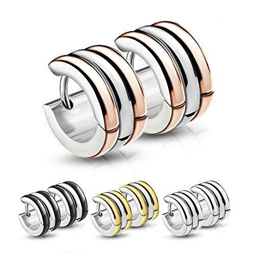 Treuheld® | CREOLEN mit 3 Ringen (Schwarz, Rosegold, Silber, Gold) - Edelstahl - Damen & Herren Ohrringe - mehrreihige Ohrstecker mit Klappverschluss - 7mm breit mit 3 Reihen - Ohrschmuck zum Klappen