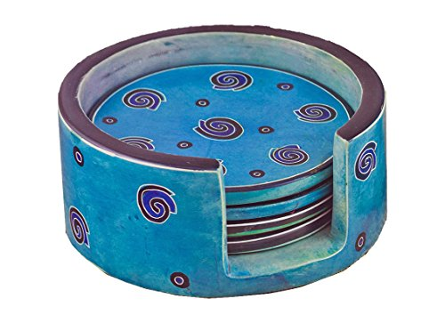 Mr. Ellie Pooh Soapstone, Robin's Egg Blue Coaster Set (830-814959020787)
