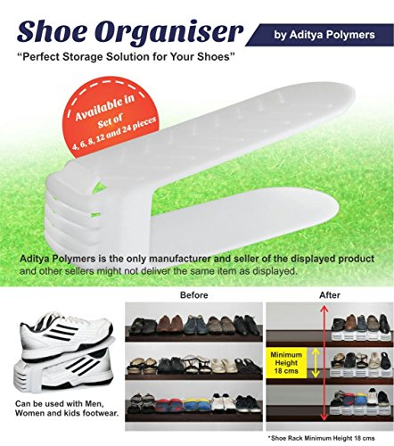 12 PCS. SHOE ORGANIZER / ORGANISER / SHOE SHELF / RACK / SPACE SAVER ,STORAGE CUM ORGANIZER / HOME IMPROVEMENT AND HOUSEHOLD UTILITY PLASTIC PRODUCT BY ADITYA POLYMERS, SET OF 12 Pcs.