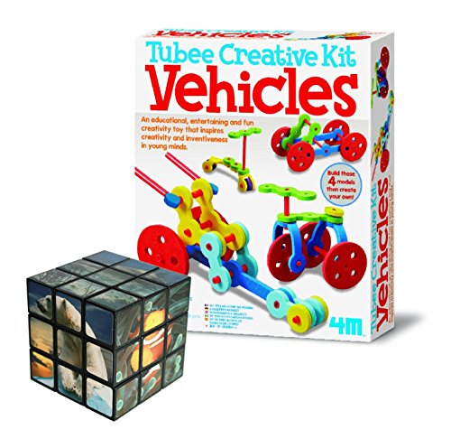 Kids-Children-Girls-Girl-Boys-Boy-Low-Cost-Great-value-Construct-Your-Own-Tubee-Vehicles-Build-Construct-Discover-Set-FREE-Sealife-Brain-Teaser-PuzzleCube-Ideal-Present-Gift-Idea-For-Birthdays-Christm