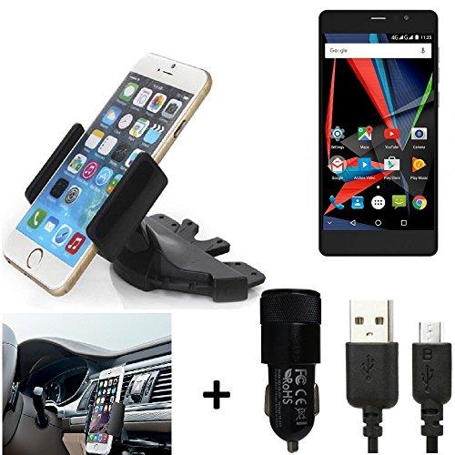 K-S-Trade TOP SET per Archos 55 Diamond Selfie + Caricabatteria Supporto Slot CD Smartphone per auto dispositivi di navigazione montaggio autoradio titolare staffa per Archos 55 Diamond Selfie fatto per smartphone, cellulare, navigazione / GPS