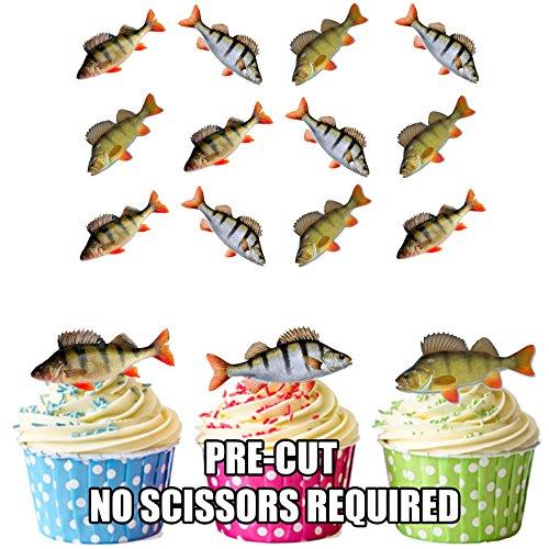 Angeln, Barsch Fisch 12 essbaren Kuchendeckel -