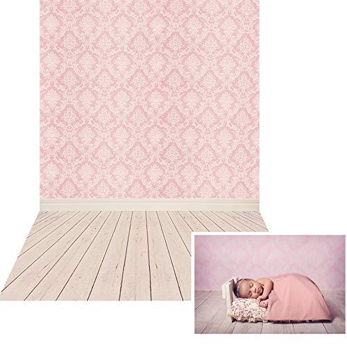 Leinwand Falten Anzug (NIVIUS PHOTO® 150*220cm Dünne Vinyl rosa Damast Tuch Fotografie Hintergrund Computer Druck Hintergründe für Fotostudio Neugeborene Geschenk XT-2341)