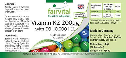 51B8bxOsQfL - Vitamina K2 200 mcg con D3 10000 IU - Altamente dosificado - 90 cápsulas solamente 1 cápsula cada 10 días - ¡Calidad Alemana garantizada!