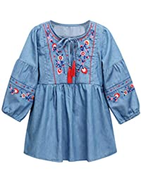 Malloom Vestidos Niñas, Tutú Vestidos Bebe Niña Trajes Ropa Chaleco Floral Camiseta Conjunto Vestido de Manga Larga con Flecos Bordados Estilo étnico