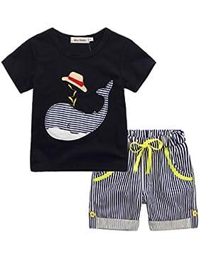 Fossen Niño Camiseta Ballena de Sibujos Animados y Pantalones Cortos a Rayas Conjunto de Ropa Verano