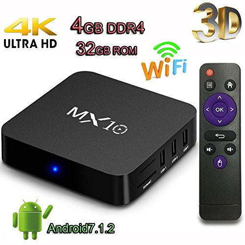 Android TV Box, Super-VIP MX10 Smart 4K TV Box Android 7.1.2 RK3328 4GB DDR4 32GB Wifi Set Top Boxes Support 3D 4K Ultra HD TV