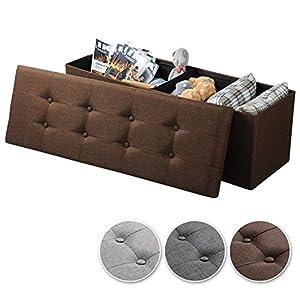 WOLTU Sitzhocker mit Stauraum Sitzbank Faltbar Truhen Aufbewahrungsbox, Deckel Abnehmbar, Gepolsterte Sitzfläche aus Leinen, 110×37,5×38 cm, Dunkelgrau, SH11dgr-1