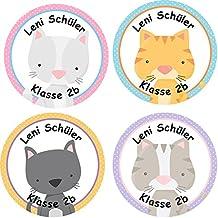 24 individuelle Aufkleber Namenssticker Schule - Motiv Katzen (Set 30)