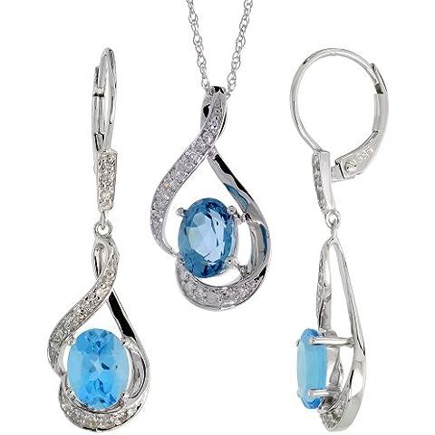 Orecchini pendenti in oro bianco 14 kt, 19 mm, 18 in. &)-Set di collana con pendente, con diamanti taglio brillante, ct 0,20 & 3,64. K, taglio ovale, 7 x 5 mm), colore: blu topazio