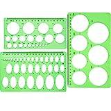 Lineale mit Kreisschablonen - 3 Stück, Kunststoff,  kreisförmige und ovale Schablonen, Messschablonen,  für Büro und Schule, für Gebäude-, Schalungszeichnungsvorlagen   Grün/transparent