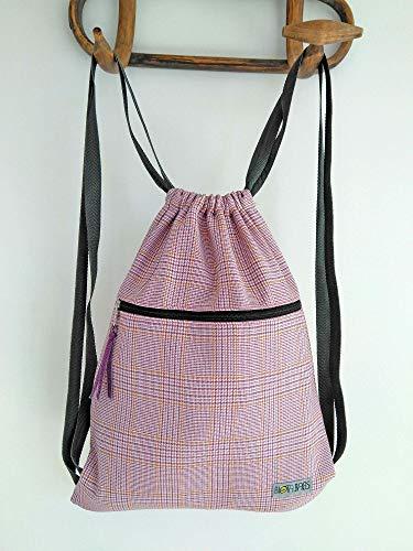 Mochila saco de tela pata de gallo rosa, Mochila mujer de cintas
