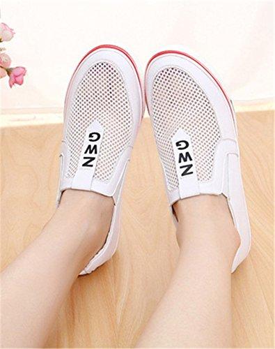 Wealsex Damen Freizeit Keilabsatz Wedges Schuhe mit Plateau Bequem Sneakers Low-Top Sportschuhe Weiß