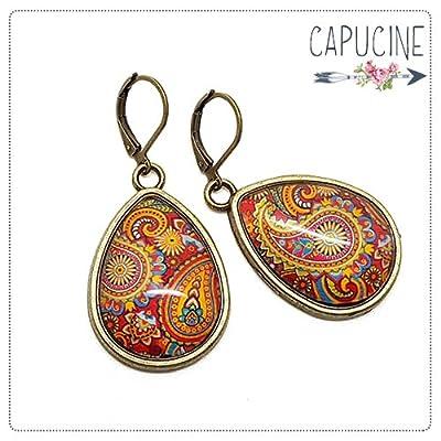 Boucles d'oreilles Cachemire - Boucles d'oreilles cabochon goutte - Cachemire - idée cadeau de noël, cadeau de saint valentin, cadeau pour elles, cadeau de fête des mères