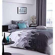 Catherine Lansfield Landscape City - Juego de cama (135cmx200cm, 1 funda de almohada de 50cmx75cm),