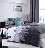 Catherine Lansfield City Scape - Juego de cama, funda de edredón(200cmx200cm) y  2 fundas de almohada  (50cmx75cm), diseño Londres