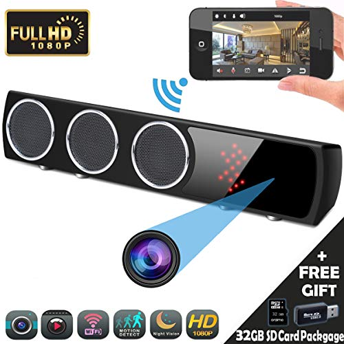 Spy Cam WIFI Fotocamera Altoparlante HD 1080P Telecamera Spia Nascosta Microcamere P2P Videocamera di Sicurezza Wireless Motion Detection 160°Ampio Angolo di Visione iPhone Android Controllo APP (Nero)