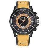 Uhr Mumuj Mode herren Uhren Ure Luxury Silikagel Leder Uhrenarmbänder Glas Quarz Analog Date Armbanduhren Digital Sport Uhr Festliches Geburtstagsgeschenk Uhren (Kaffee)