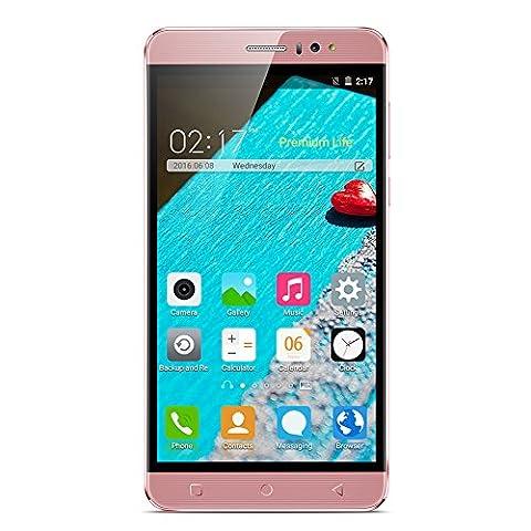 [2016 Nouveaux]Kivors Smartphone K800 Débloqué 3G 6 pouces SIM sans Ecran IPS Quad Core 1.3GHz Double Sim Double Caméra 1GB RAM 8GB ROM Smart Support Wake Air Distance Gesture 2G / 3G Mobile Phone - Rose