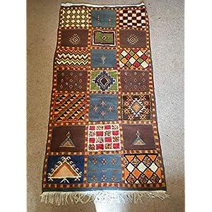 Großer Verkauf. 210x110cm Handgewebter marokkanischer Teppich Berber Kelim bunter Teppich Tribal handbestickter Kelim Kamelwollteppich