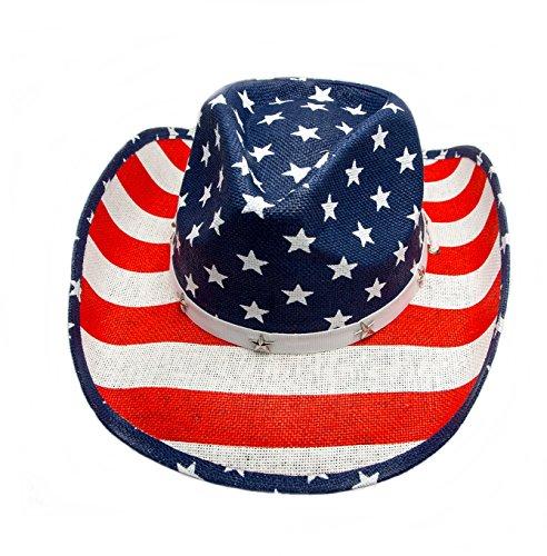 Strohhut Cowboyhut Westernhut Hut Flagge USA mit Hutband und Kinnband (52-56)