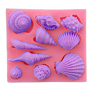 Allforhome Food Grade Assorted SEA SHELL sea shells seashell fondant icing silicone Candy mold Sugarcraft Cake Decoration Moulds non stick Sugar paste Chocolate Fondant Resin Polymer Clay gum paste Molds