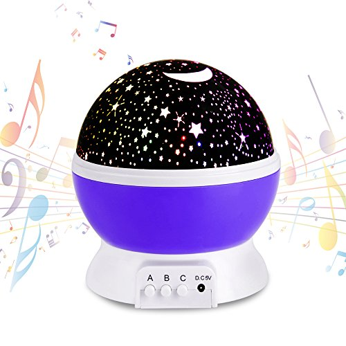 Musical star projector, Upgrade Rechargeable Star Night Light, Rotating Baby Toys Relax Sleep Birthday Gifts Purple