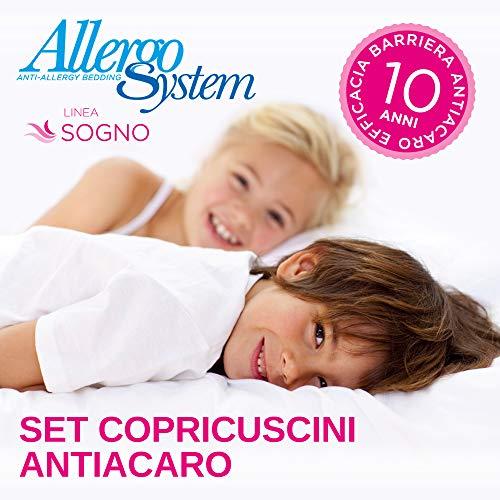 Allergosystem set 2 pezzi copricuscino antiacaro sogno, polyester, 50x80cm