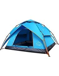 Toogh Tente campagne étanche famille, 2-3 personnes, Etanche Pop-up instantanée pour Camping Tente, 4 saisons, double couche et moustiquaire, comprend un sac de transport