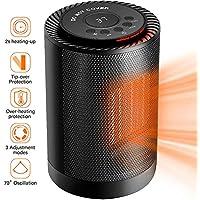 Sendowtek Mini Calefactor Cerámico 1200W Calentador de Espacio Eléctrico Portátil Personal para Cuarto/Baño/Oficina, Oscilación Automática, 3 Modos de contra Viento, 2 Protección de Seguridad