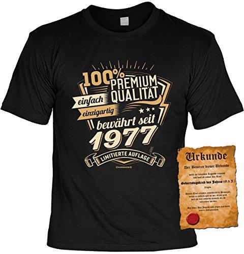 Geburtstags/Jahrgangs-Shirt inkl. Spaß-Urkunde: 100% Premium Qualität einfach einzigartig bewährt seit 1977 limitierte Auflage Schwarz