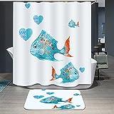 Ommda Duschvorhang Textil Wasserdicht Duschvorhang Anti-schimmel Tier Digitaldruck Waschbar mit 12 Duschvorhang Ring 180x220cm(Keine Matten) Fisch