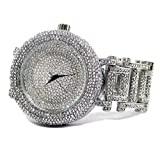 Da uomo ultra Bling finto diamante Orbit argento placcato HipHop Bling orologio