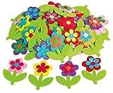 VBS Großhandelspackung 50 Blumen Streuteile Deko 5x6,5cm bunt aus Filz mit Stiel