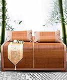 WUFENG Faltbare Bett-Matte Supercool Bettwäsche Bambusmatten Gewebte Matratze Doppelseitige Verwendung Für Sommer-Twin/Full/Queen/King Size (Farbe : A-1mat+2 Pillowcases, größe : 180 * 215cm)