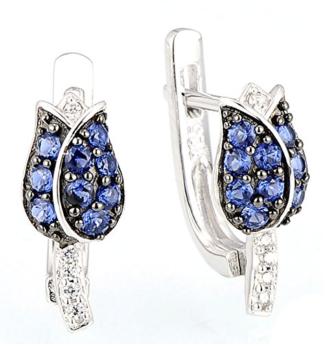 saysure-925-sterling-silver-earrings-for-women-blue-cubic-zirconia