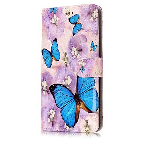 ISAKEN Compatibile con Huawei P10 Plus Cover - Libro Wallet Flip Portafoglio Custodia in PU Pelle Sollievo Pattern Anti Slip Caso con Supporto di Stand/Carte Slot/Chiusura - Farfalle Blu