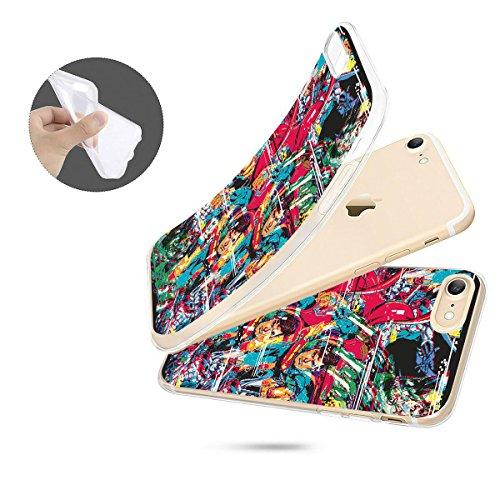 finoo | iPhone 8 Weiche flexible Silikon-Handy-Hülle | Transparente TPU Cover Schale mit Motiv | Tasche Case Etui mit Ultra Slim Rundum-schutz |Flash logo Justice league distortion full