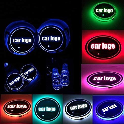 JNYUTECH Tappetino per portabicchieri con Logo a LED per Auto, RGB 7 Colori, Tappetino Lampada Decorativa per Auto di Ricarica USB a LED 24 modelli sono liberi di s