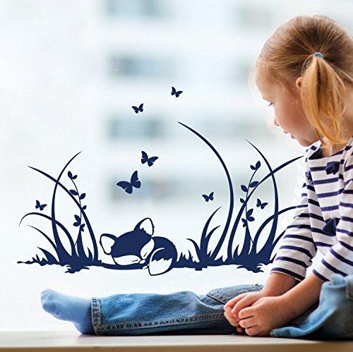 ilka parey wandtattoo-welt® Fensterbilder Kinder Frühling Kinderzimmer Fuchs Füchse Wiese Schmetterlinge M1367f2