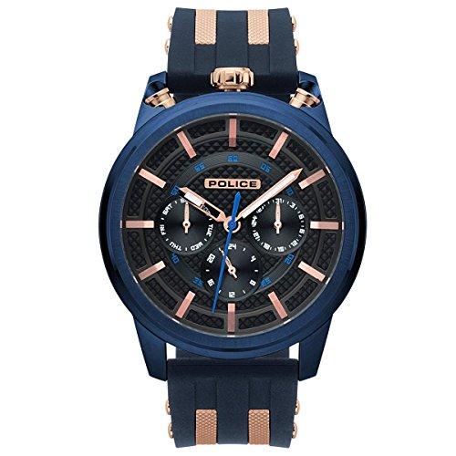 Police Herren Multi Zifferblatt Quarz Uhr mit Silikon Armband PL.15414JSBL/61P